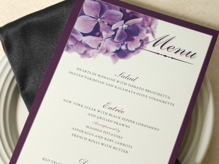 Tmx 1391031196706 Prplhydrangeamenu Newtown, New York wedding invitation