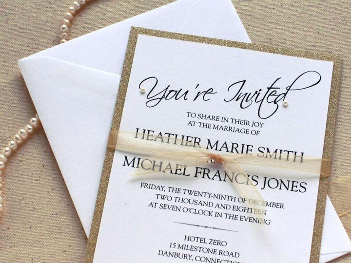 Tmx 1515700154 C1eb958b82118e6a 1515700153 D1f425e4c2900ff1 1515700144186 5 GoldGlitterInvite  Newtown, New York wedding invitation