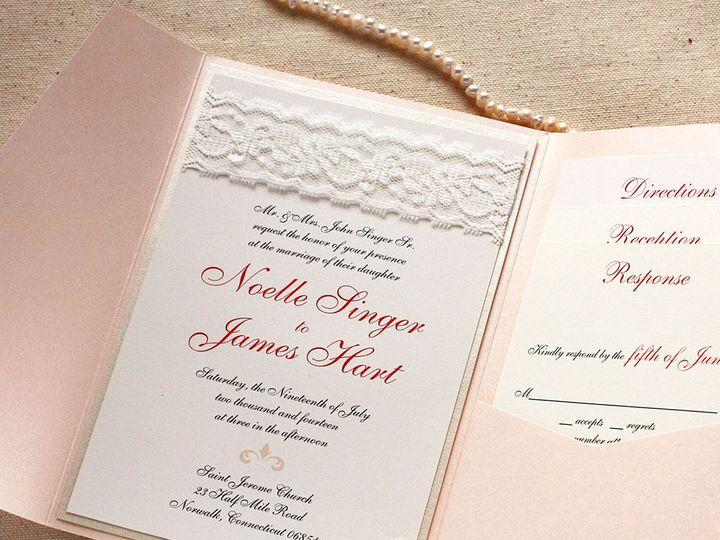 Tmx 1515700261 F6805d5dba448851 1515700260 43c43956351f6350 1515700257322 7 ElgntLaceCoralInvi Newtown, New York wedding invitation