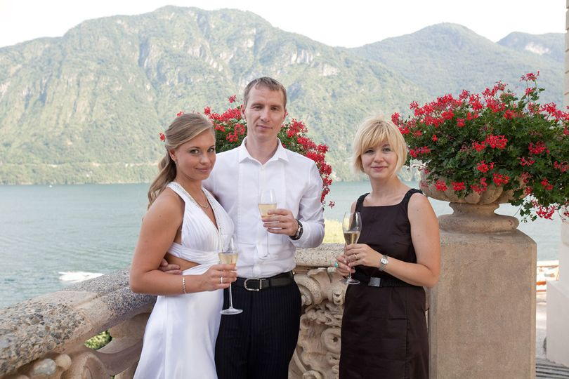 These newlyweds say a toast to their wedding planner, Svetlana, for making their dream Italian...