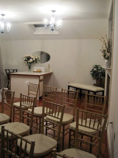 The wedding chapel provides an intimate place for small ceremonies.