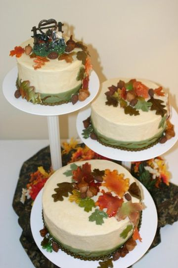 Floating 3 tier Fall cake with gumpaste leaves and fondant ribbons.