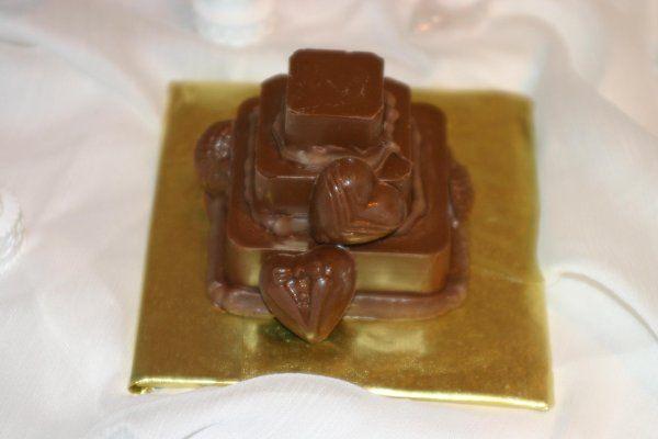 Chocolate tuffle mini wedding cake favor.