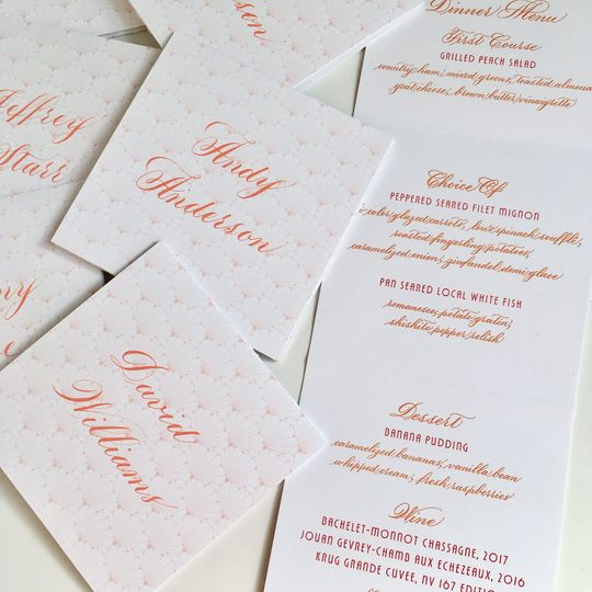 Place cards/menu calligraphy