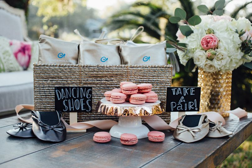 Be sweet to your wedding guests' feet with a basket of Cinderollies wedding favors and keep your...