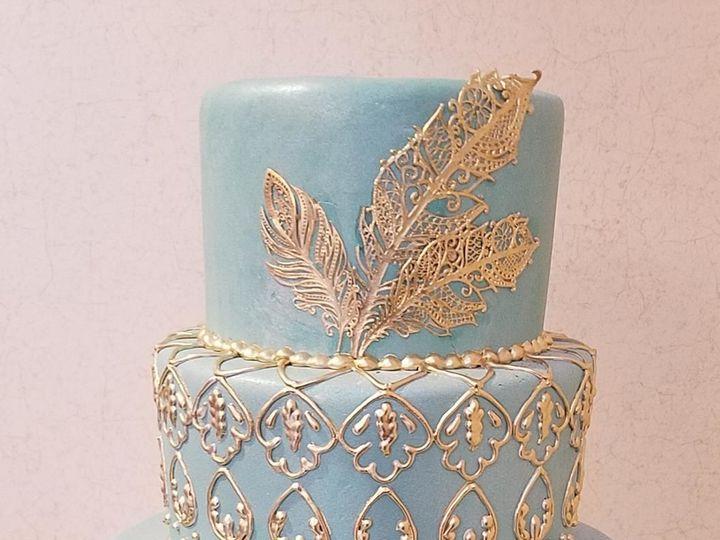 Tmx 1530201616 0d7845b22e003bab 1530201613 Eb15a0b0f5f2bdbe 1530201613105 12 Gold Feathers Shrewsbury, MA wedding cake