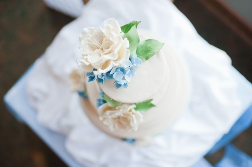 Garden roses (ivory), with blue hydrangeas and green foliage all handcrafted from sugar.