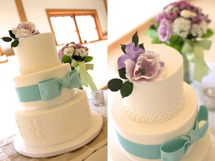 Tmx 1394738061044 Double Happiness Cake With Sugar Bow And Sugar Flo Seattle wedding cake