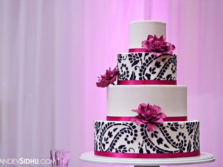 Tmx 1394738092033 Paisley Cake With Sugar Dahlias In Fuschi Seattle wedding cake
