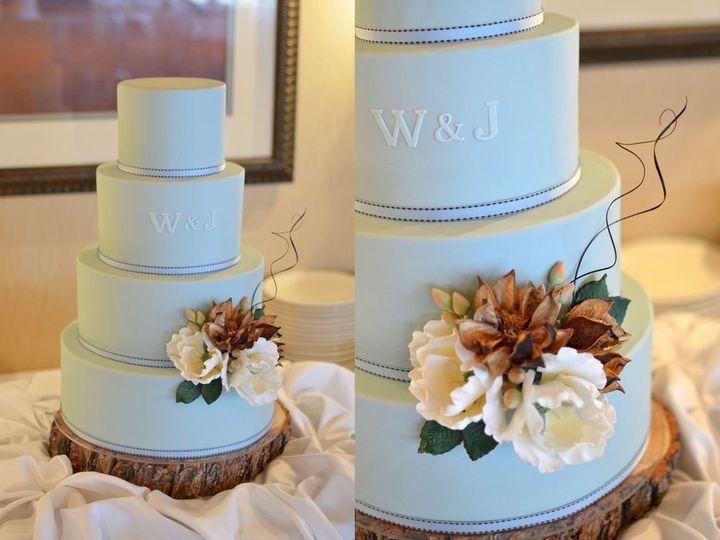 Tmx 1394738107615 Robins Egg Blue Cake With Sugar Flower Seattle wedding cake