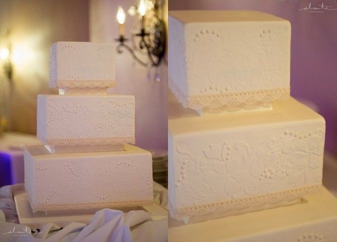 Tmx 1394738116103 Square Cake With Edible Lace And Piped Pearls   Du Seattle wedding cake