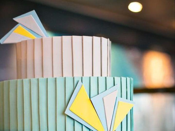 Tmx 1394738135874 Teal And Yellow Art Deco Wedding Cak Seattle wedding cake