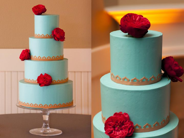 Tmx 1395164076831 Teal And Gold Indian Wedding Cake   Buttercrea Seattle wedding cake