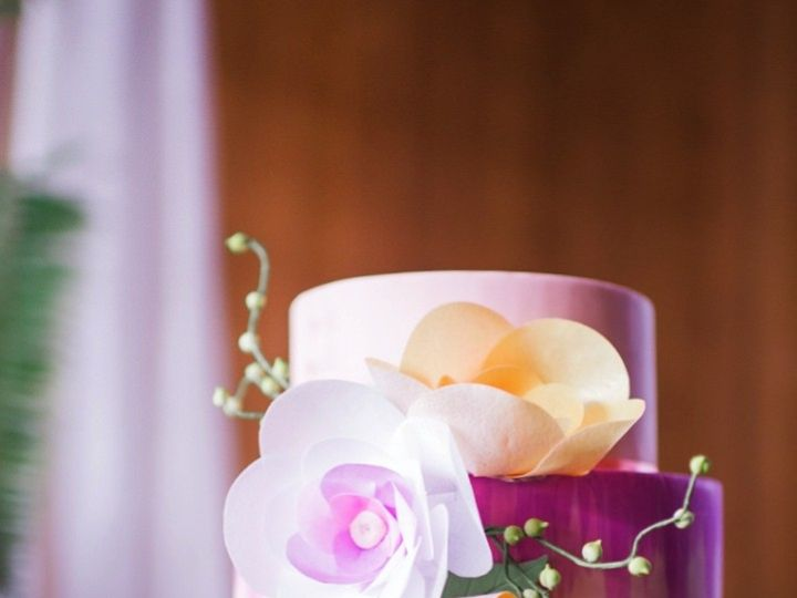 Tmx 1432001861746 Bright Painted Cake With Wafer Flowers And String  Seattle wedding cake