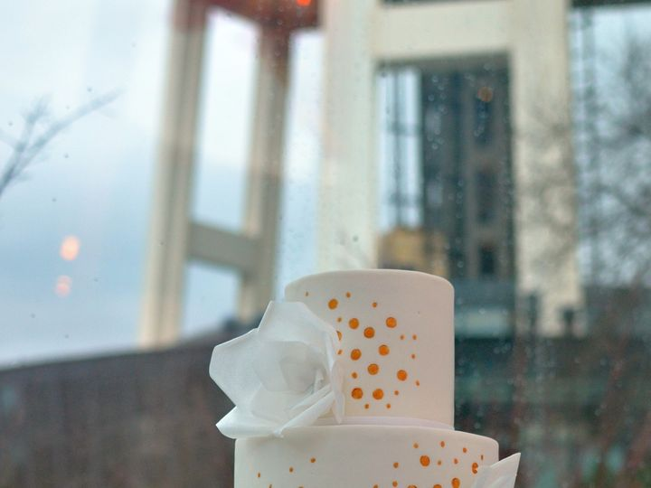 Tmx 1432002213035 White Cake With Wafer Paper Flowers And Gold Confe Seattle wedding cake