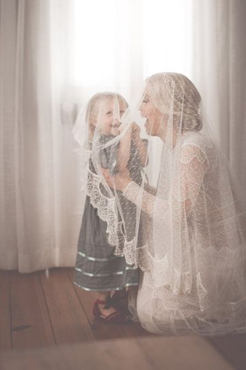 The bride with a little girl
