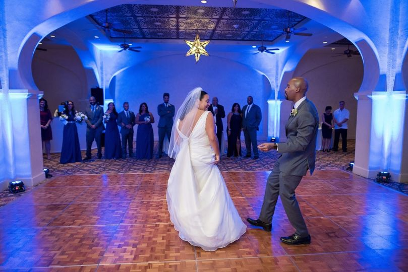 Couple dancing and uplighting