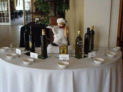 Tasting imported Olive Oils during the Cocktail Hour