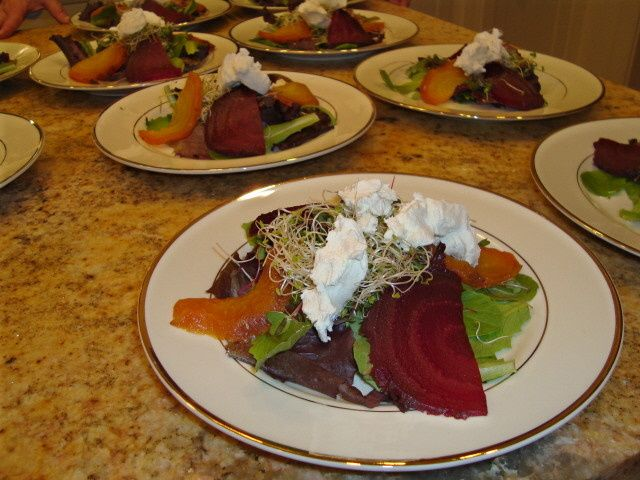 Roasted Red and Yellow Beets with Goat Cheese, Radish Sprouts and Balsamic Drizzle