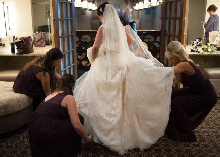 Last minute preparation for the bride.