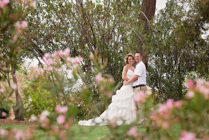 Bride and groom in the Garden