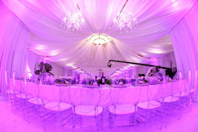 Chandelier and Draping over the Head Table