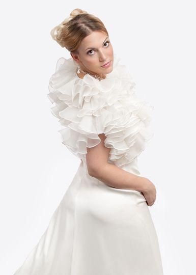 Silk organza bridal bolero with opulent ruffles 4 colors $298.00...