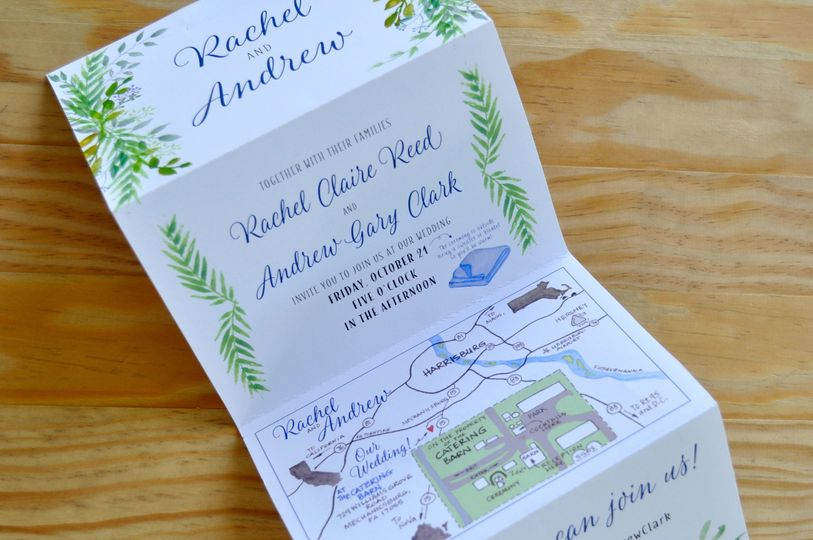 This 4-paneled invitation folded to fit into an a6 envelope. Had such a blast water coloring the...
