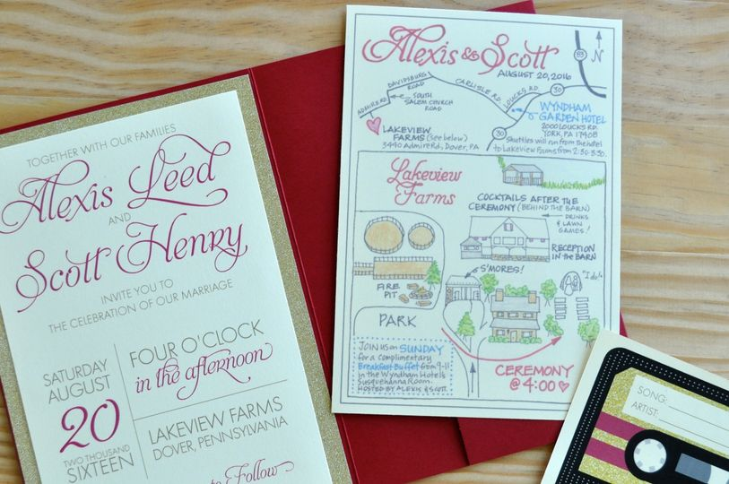 Alexis and scott's fun invitation folder, hand-drawn map, and song request card