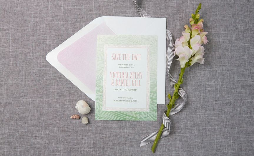 Save the date card in green hues
