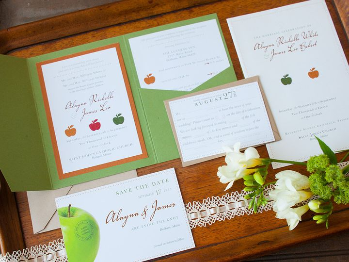 Tmx 1441820313820 Fall Weddinggreenorangered1 Portland, Maine wedding invitation