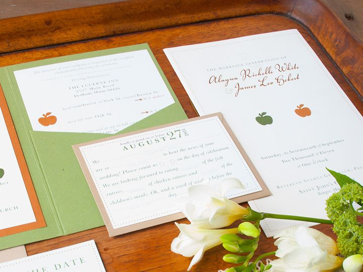 Tmx 1441820318809 Fall Weddinggreenorangered2 Portland, Maine wedding invitation