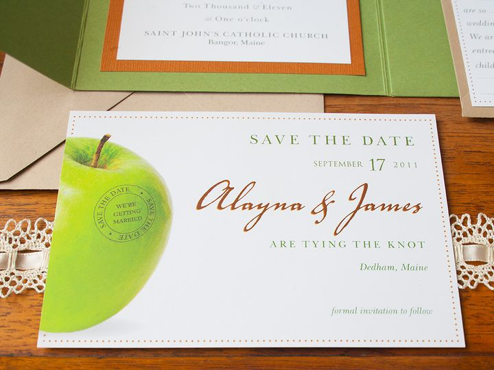 Tmx 1441820329672 Fall Weddinggreenorangered4 Portland, Maine wedding invitation