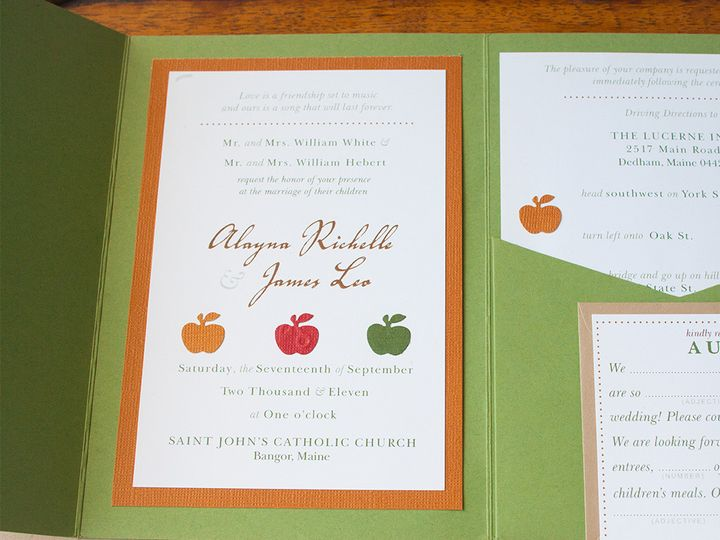Tmx 1441820335085 Fall Weddinggreenorangered6 Portland, Maine wedding invitation