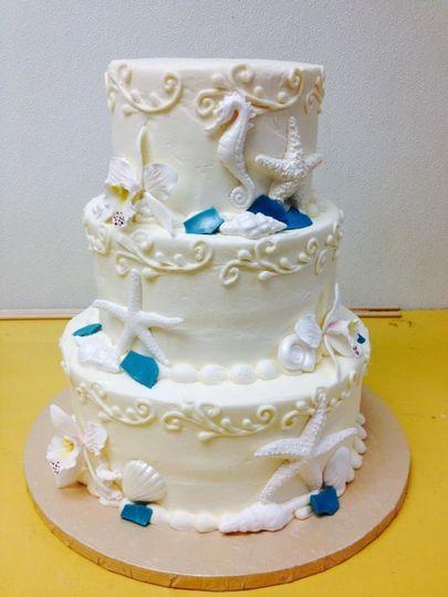 Sea shell/ocean themed wedding cake