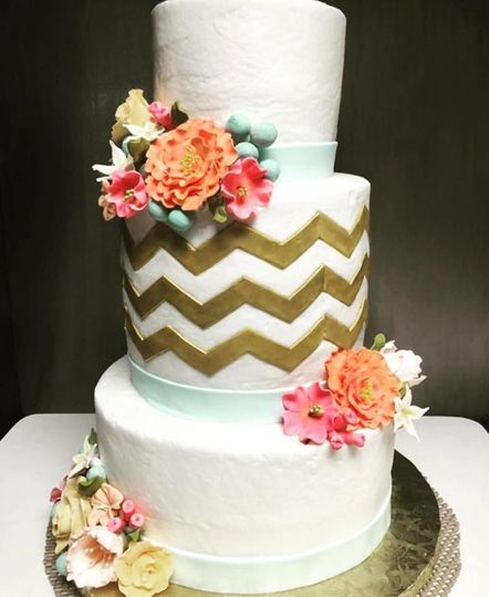 Chevron pattern with gold accents- gum paste flowers