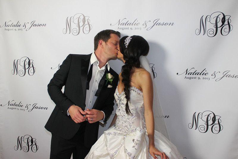 bride groom kissin