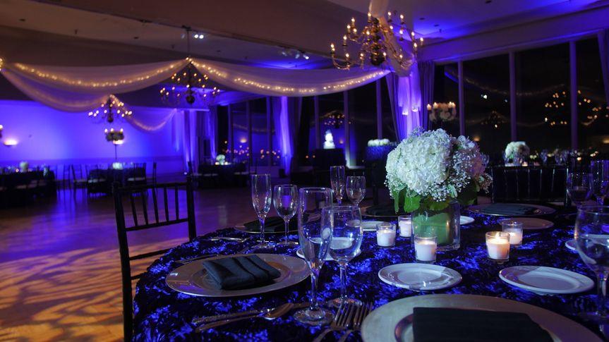 Dim purple lighting and table set-up