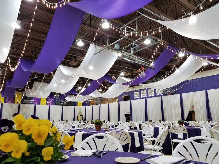White and purple drapes