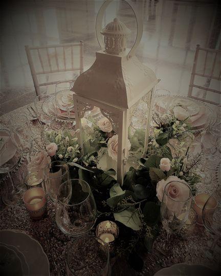 Blush and silver tablescape