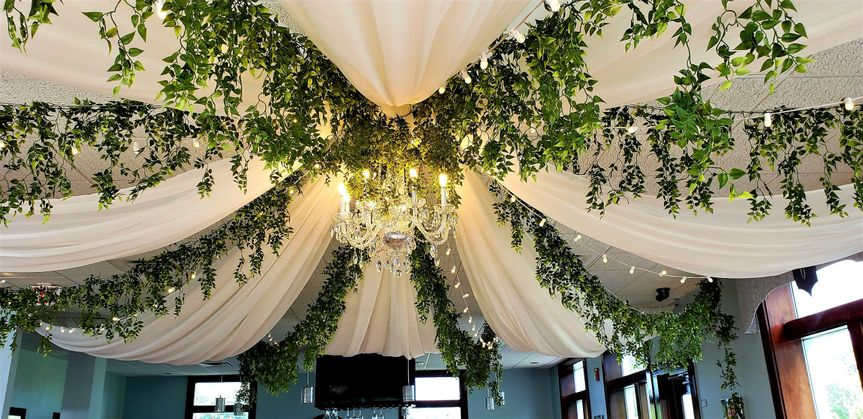 Ceiling draping with chandelie