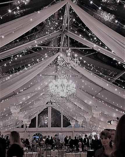Tent draping with chandeliers