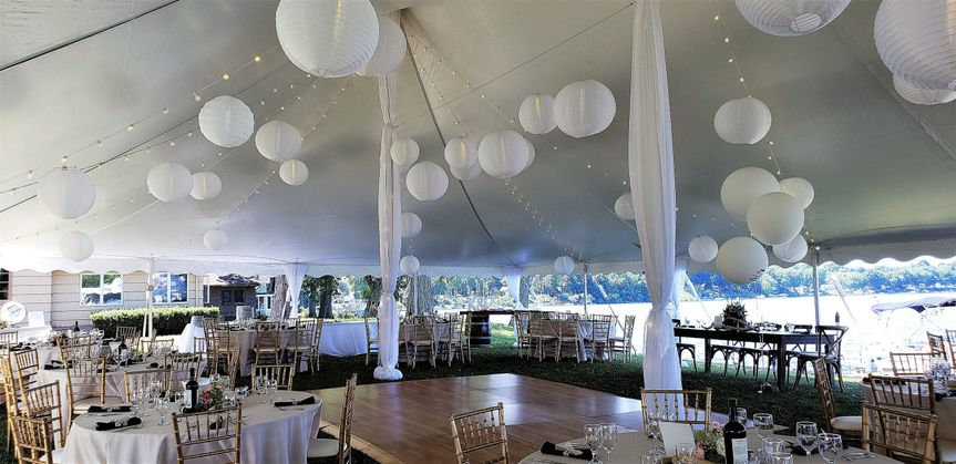 Tent wedding with chiavari cha