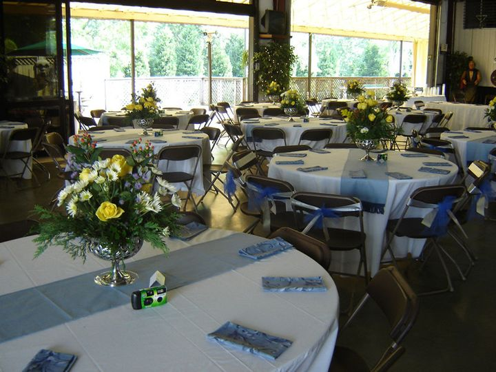 Table setup with floral centerpieces
