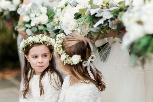 Flower crowns on the flower girls