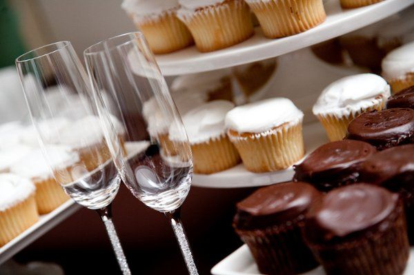 Wine glass and cupcakes
