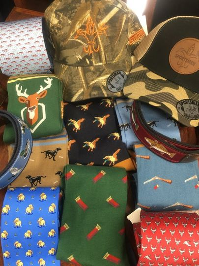Socks, ties, hats, and belts