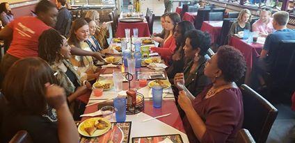Ladies enjoying dinner