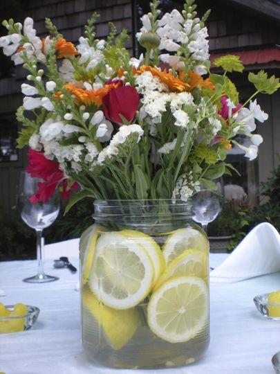 Flowers in a jar of lemonw ater