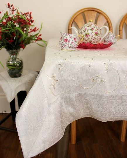 Beautiful hand embroidered square tablecloth